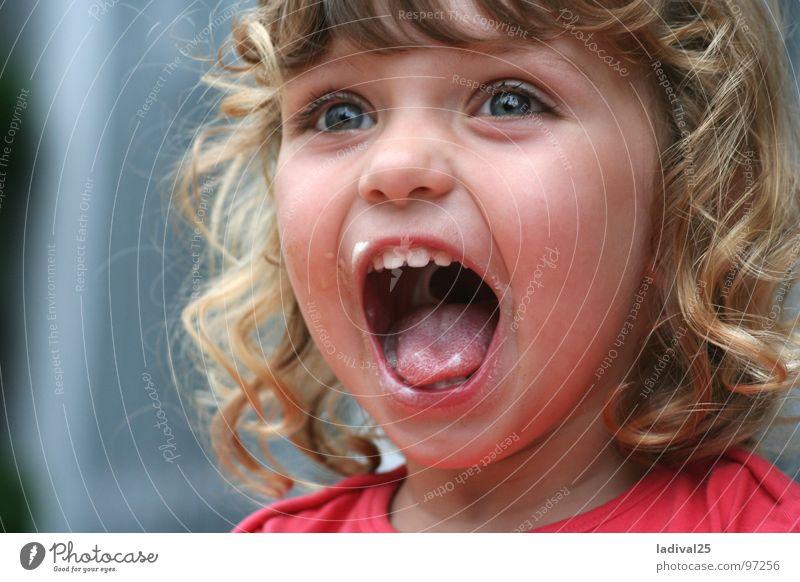 die kleine große Begeisterung Freude Mädchen klein blond Mund Kleinkind Locken schreien Abendessen Dessert Kind Mahlzeit