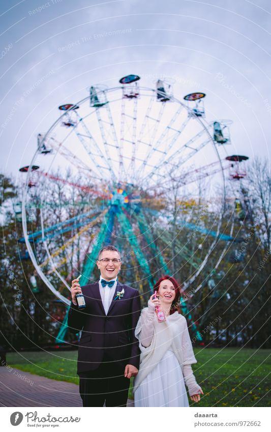 lustig viel Lifestyle elegant Stil Freude Feste & Feiern Flirten Hochzeit Paar Partner Park Lächeln lachen frech Freundlichkeit Fröhlichkeit Gesundheit schön