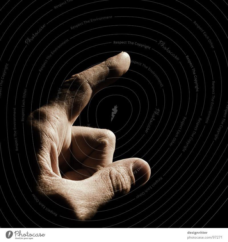 Das Licht dunkel Freiheit Zufriedenheit hell frei Hinweisschild zeigen Zeigefinger Ausweg