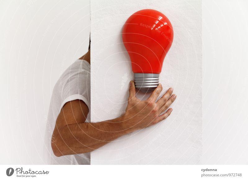 Idee Mensch Jugendliche rot Junger Mann 18-30 Jahre Erwachsene Leben Raum Arme Energie Beginn Kreativität Studium lernen Neugier