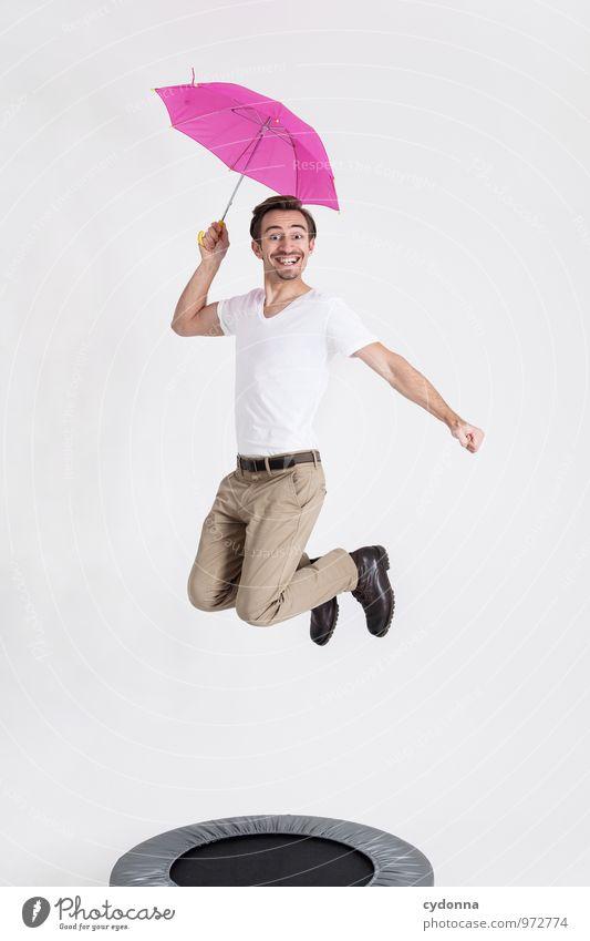 Stumpf ist Trumpf Mensch Jugendliche Freude Junger Mann 18-30 Jahre Erwachsene Leben Bewegung Glück Gesundheit Freiheit springen rosa Lifestyle Energie