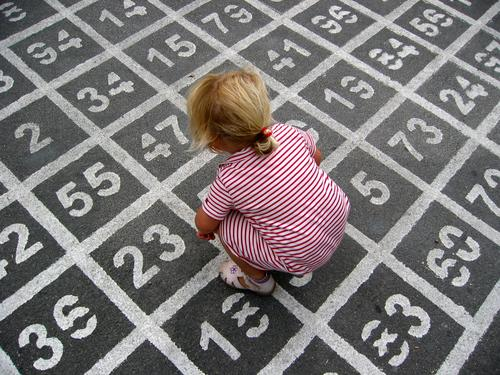 (7*5)+11-4=? Farbfoto Außenaufnahme Tag Vogelperspektive Spielen Kind Mädchen Kleid Ziffern & Zahlen hocken Kindheit Asphalt rechnen Mathematik PISA-Studie