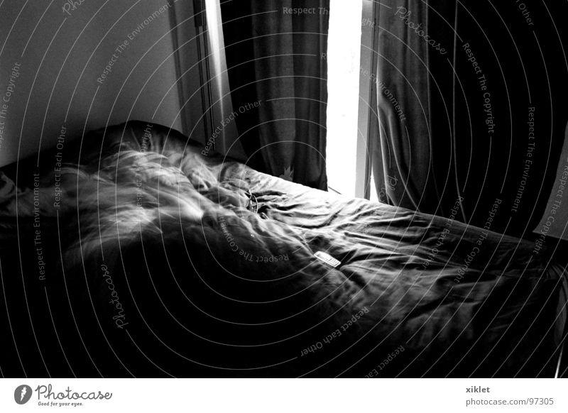 bett ruhig dunkel Fenster schlafen Bett Vorhang Gardine Schlafzimmer Bettdecke friedlich Lichteinfall