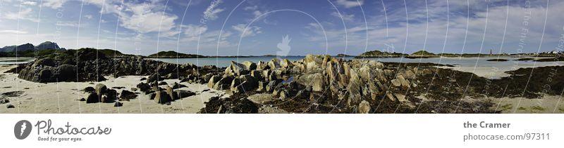 Andenes Strand Wasser schön Himmel Meer ruhig Wolken Einsamkeit Stein Sand Küste groß Horizont Insel Norwegen Polarkreis