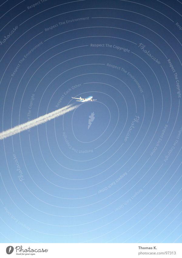Mid Air Himmel Ferien & Urlaub & Reisen Flugzeug verrückt Luftverkehr Flügel Flughafen Dienstleistungsgewerbe Düsenflugzeug Buche Kondensstreifen