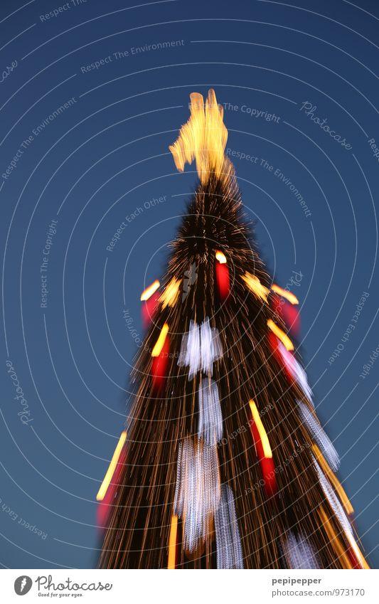 Weihnachtsbaum Feste & Feiern Weihnachten & Advent Kunst Baum Sehenswürdigkeit Zeichen Ziffern & Zahlen Ornament Kreuz Engel Bewegung leuchten blau gold rot