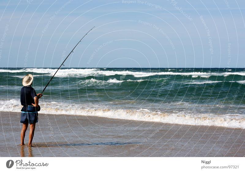 Lange Rute Wasser Meer Sommer Strand Küste Wellen gold Fisch Freizeit & Hobby Hut Angeln Australien Angler Angelrute Pazifik Queensland