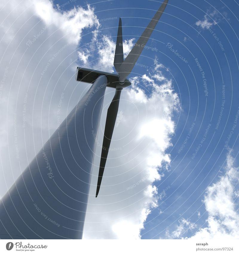 Windkraftrad Windkraftanlage Elektrizität Energie Energiewirtschaft umweltfreundlich Himmel Konstruktion Erneuerbare Energie ökologisch Umweltschutz modern