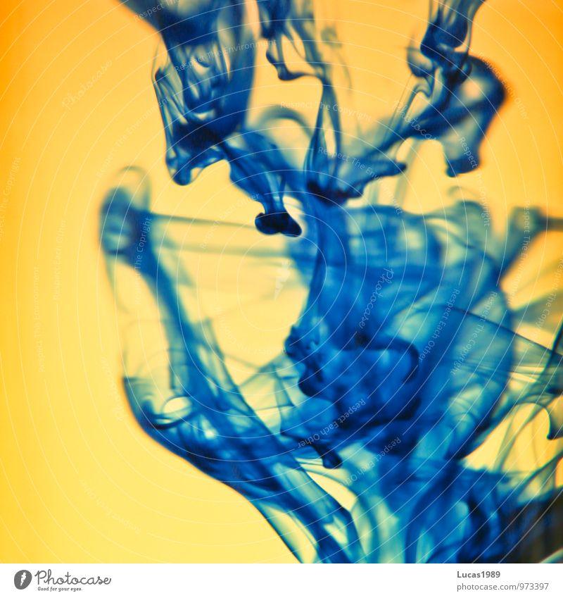 Tintentropfen blau Wasser gelb Kunst orange Wassertropfen Flüssigkeit verteilen Schliere