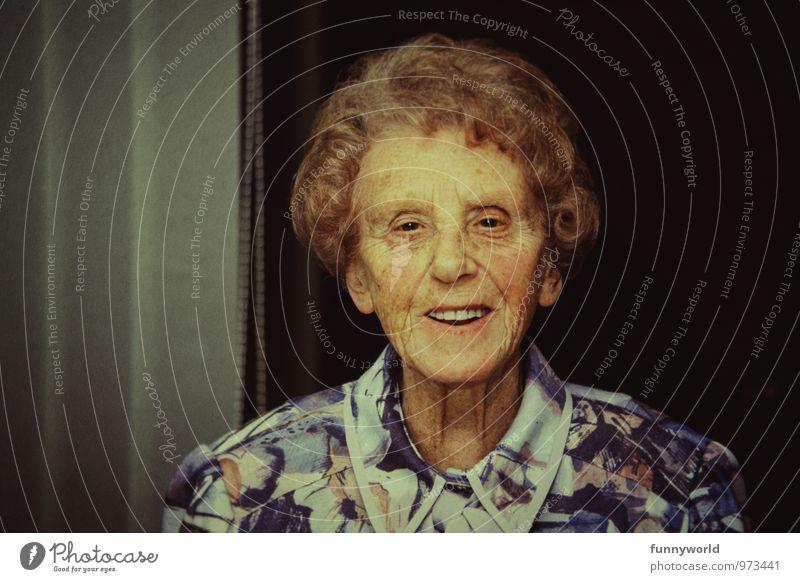 Oma Mensch Frau alt Leben Senior Glück Gesundheit Kopf Zufriedenheit 60 und älter Lebensfreude Freundlichkeit retro Weiblicher Senior Großmutter Weisheit