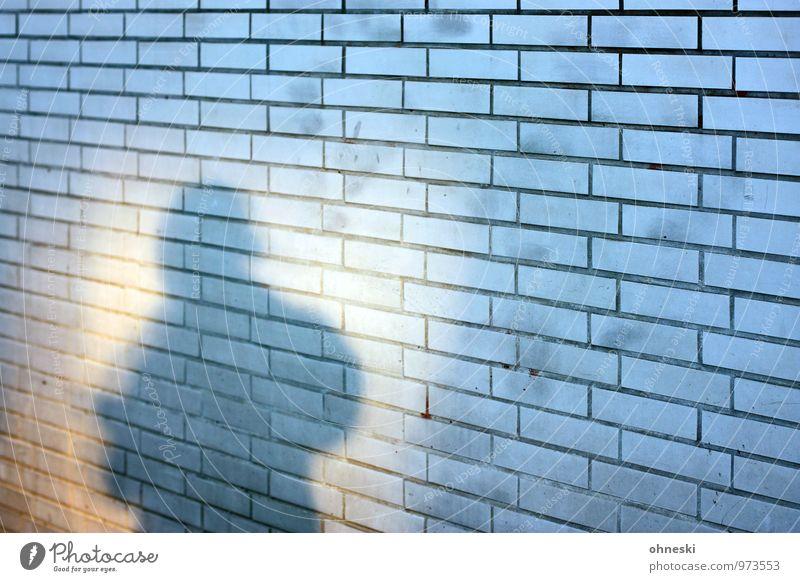 Shadow Mensch 1 Haus Mauer Wand Fassade Stadt Hoffnung Angst Identität anonym Farbfoto Außenaufnahme Muster Strukturen & Formen Textfreiraum rechts