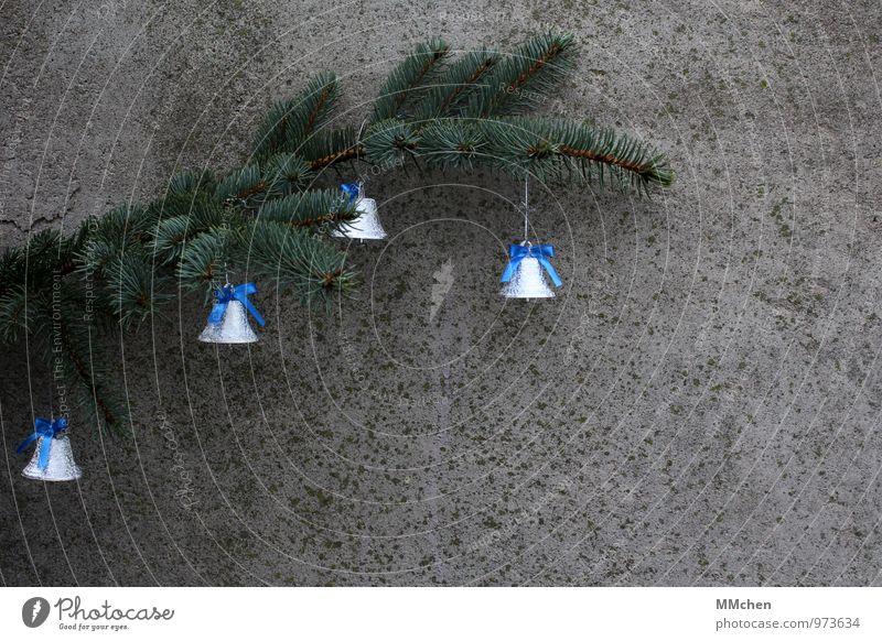 Glöckchen Weihnachten & Advent Pflanze blau grün Freude Glück grau Feste & Feiern Metall Dekoration & Verzierung Ast Beton Glaube Zweig Gelassenheit hören