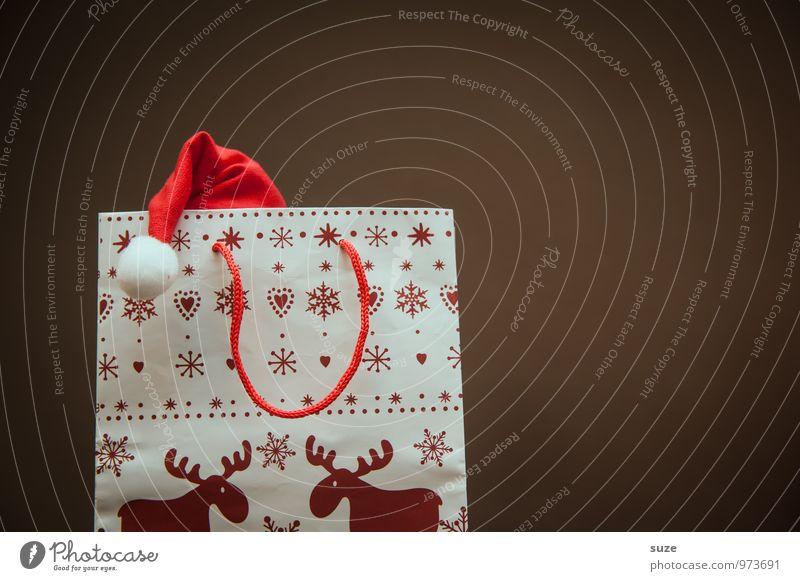 Komm raus, Nikolaus! rot Freude lustig Feste & Feiern Lifestyle braun Stimmung Design Freizeit & Hobby Dekoration & Verzierung Fröhlichkeit Kreativität Geschenk kaufen niedlich Zeichen