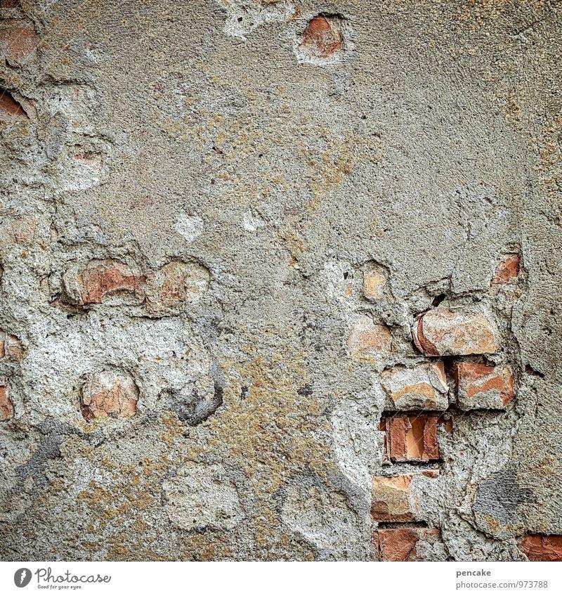 feuchtigkeit | risiken und nebenwirkungen Mauer Wand alt authentisch einzigartig kaputt grau rot Verfall Vergänglichkeit Backstein Putz zerbröckelt Steinmauer