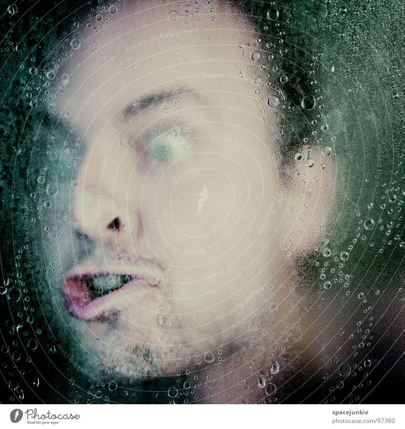 Underwater Mensch Wasser Gesicht Auge Angst Wassertropfen verrückt Filmindustrie gruselig schreien Panik unheimlich Unter der Dusche (Aktivität) Horrorfilm