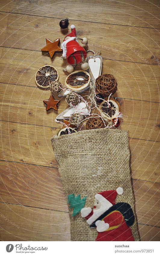 dekokrimskrams Feste & Feiern Weihnachten & Advent Winter Sack Holz Kitsch Weihnachtsmann Nikolaus Dekoration & Verzierung Stern (Symbol) Orangenscheibe