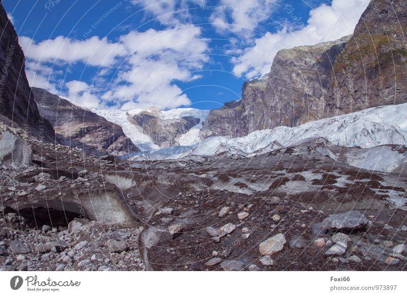 wandern zum Gletscher harmonisch Erholung ruhig Abenteuer Ferne Freiheit Camping Berge u. Gebirge Natur Wolken Sommer Klimawandel Schönes Wetter Eis Frost