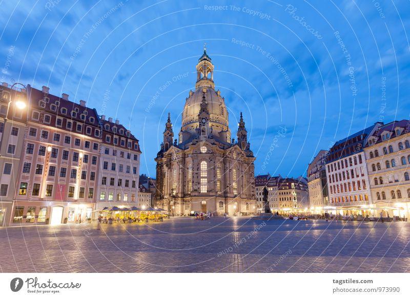 DRESDENER MARKTPLATZ Nacht dunkel Dämmerung Dresden Frauenkirche Sachsen Marktplatz Religion & Glaube Kirche Dom Ferien & Urlaub & Reisen Reisefotografie