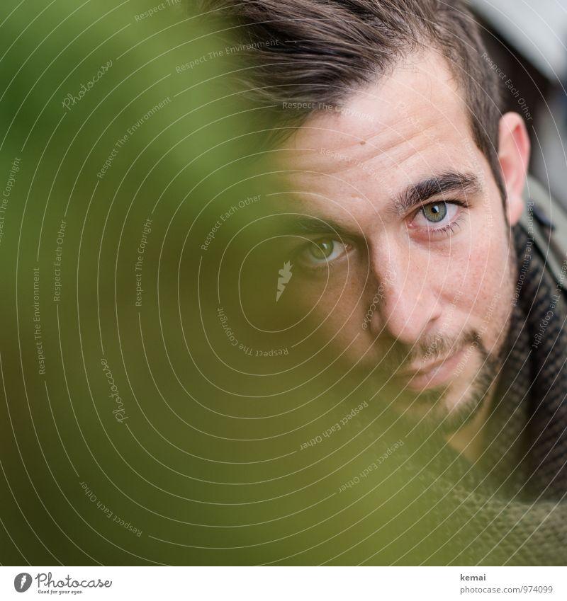 Gesicht eines jungen Mannes mit grünen Augen Lifestyle Mensch maskulin Junger Mann Jugendliche Erwachsene Leben Kopf Nase Mund 1 18-30 Jahre Schal