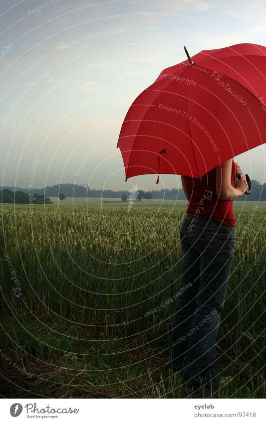 Soll gedeihen Korn und Wein, muß im Juni Regen sein. Frau Ferien & Urlaub & Reisen grün rot Sommer Ferne Landschaft Frühling Freiheit Regen Feld Ausflug stehen Romantik Jeanshose Schutz