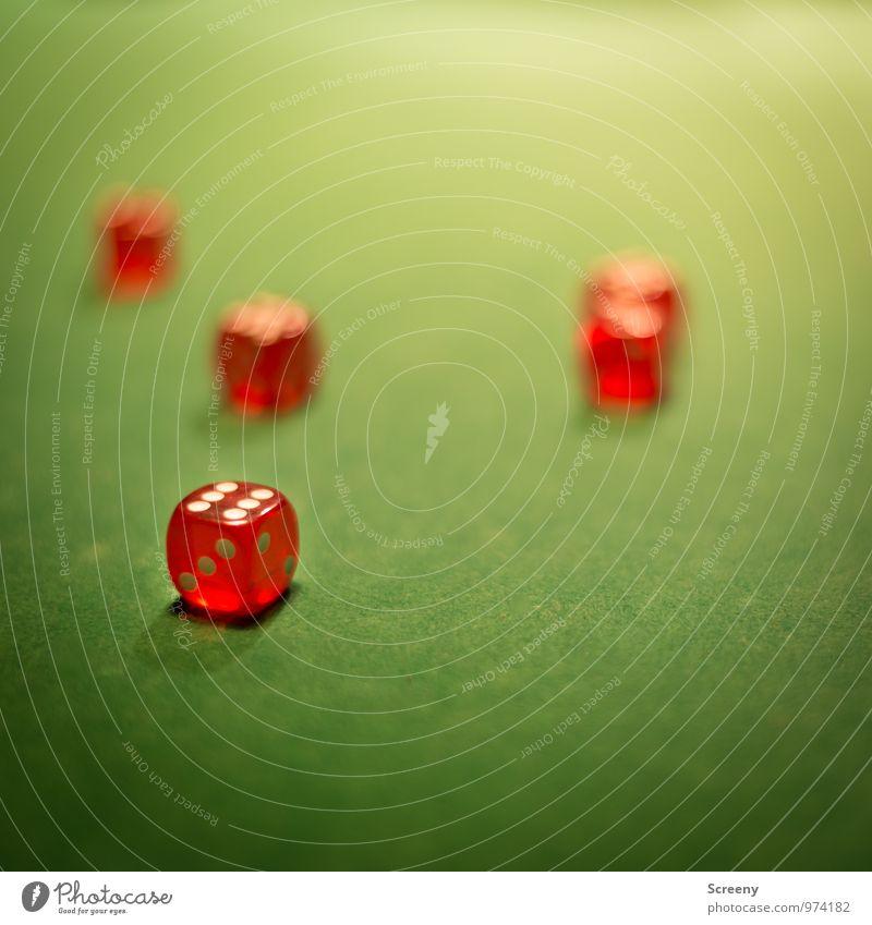 Die Würfel sind gefallen... grün weiß rot Freude Spielen klein Erfolg Tisch Würfel Treffer Zufall Glücksspiel würfeln Würfelspiel