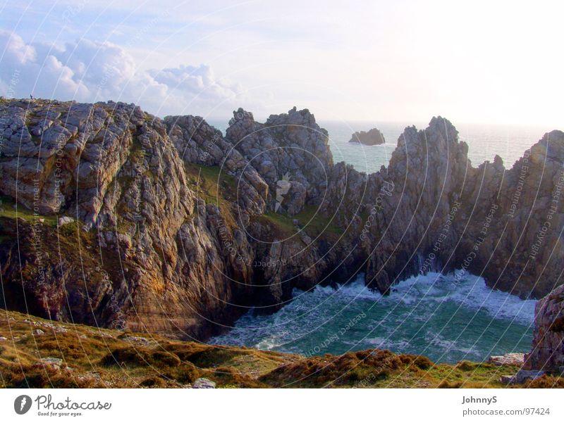 westend Meer Strand Wellen Küste Felsen Frankreich Bucht Brandung Klippe Bretagne