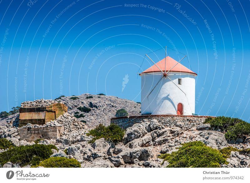 Griechenland / Windmühle Himmel Natur Ferien & Urlaub & Reisen Pflanze schön Sommer Erholung Meer Landschaft ruhig Umwelt Gras Freiheit Felsen Zufriedenheit Tourismus