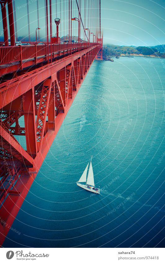 berühmte Golden Gate Bridge, San Francisco bei Nacht, USA Dorf Fischerdorf Kleinstadt Stadt Hafenstadt bevölkert Park Brücke Turm Tor Gebäude Architektur