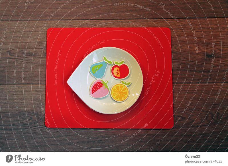 Obstteller Frucht Apfel Orange Geschirr Teller Stil Freude Gesundheit Gesunde Ernährung Wohlgefühl Arzt Küche Kunst Gemälde Garten Schalen & Schüsseln Schutz