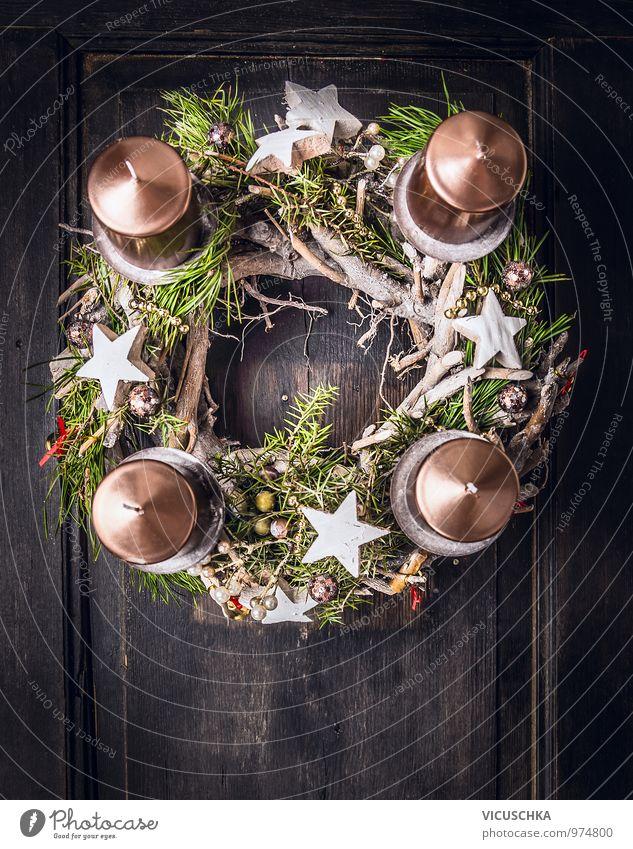 Adventskranz mit Weihnachten Deko und vier Kerzen Stil Design Winter Wohnung Dekoration & Verzierung Weihnachten & Advent Ornament Tradition