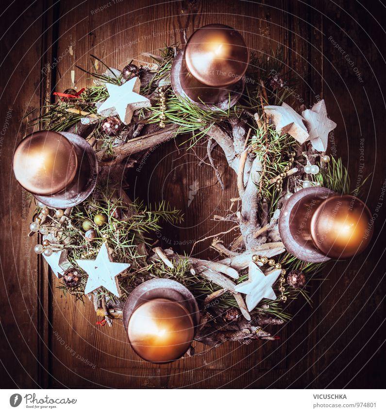 Adventskranz mit vier brennenden Kerzen Weihnachten & Advent Winter dunkel Stil Religion & Glaube Lifestyle Dekoration & Verzierung Design Stern (Symbol)