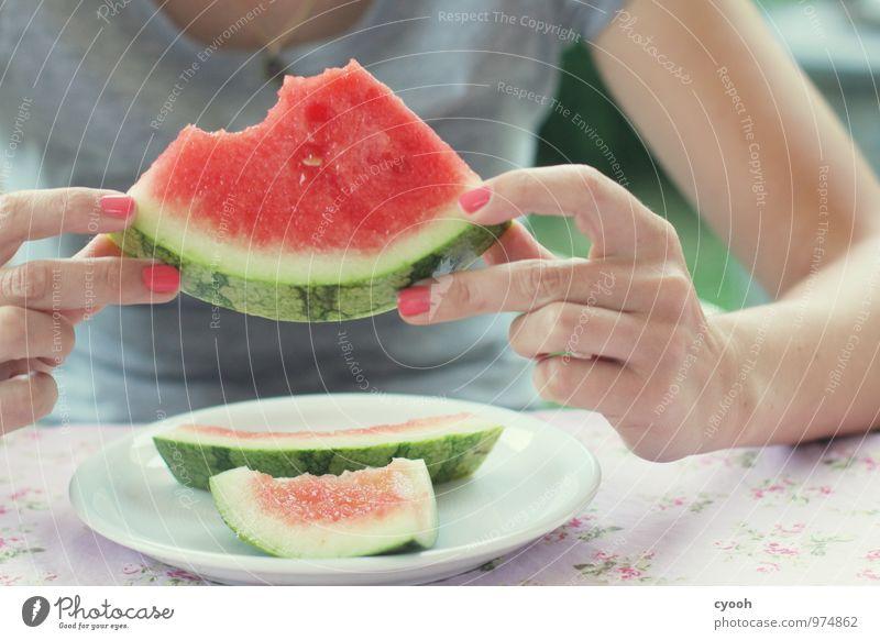 Erfrischung pur Gesunde Ernährung Wohlgefühl Zufriedenheit Hand Essen genießen Gesundheit saftig süß Wärme rot erleben Farbe Freizeit & Hobby Glück Idylle Lust