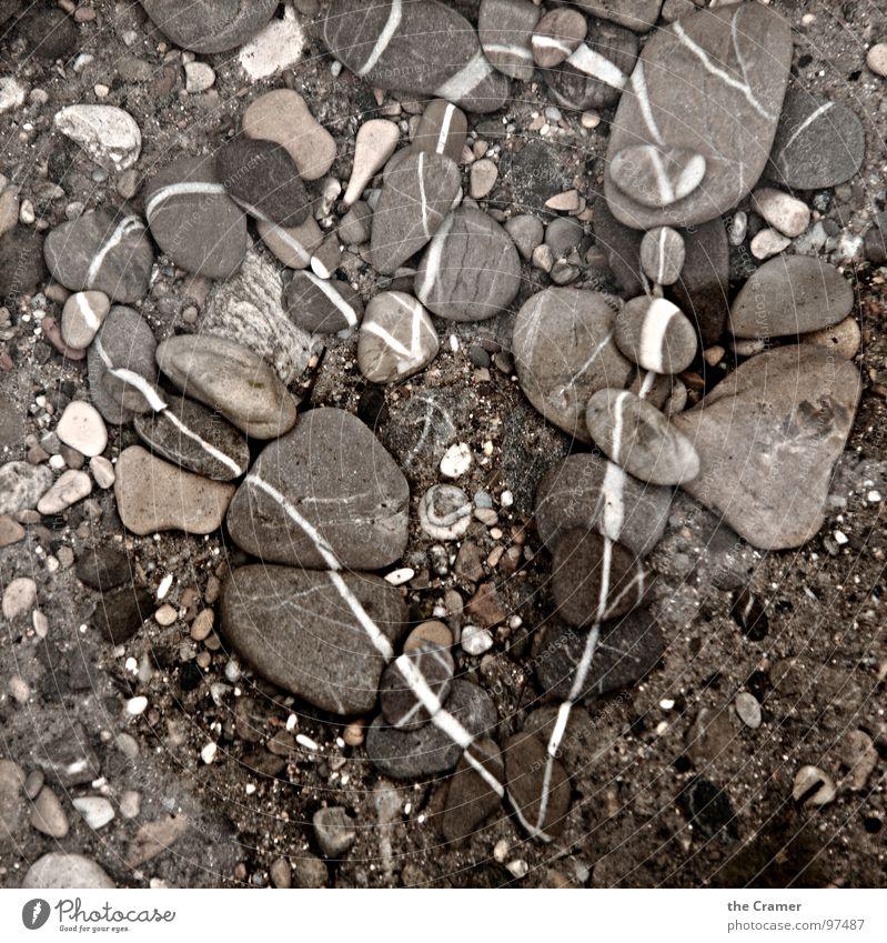 Stein | Herz Liebe grau Stein Linie braun Herz Kieselsteine Mineralien