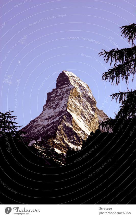 Matterhorn I Himmel Natur blau schön Baum Ferien & Urlaub & Reisen Sommer Landschaft Schnee Berge u. Gebirge Stein Luft Kraft Felsen wandern hoch