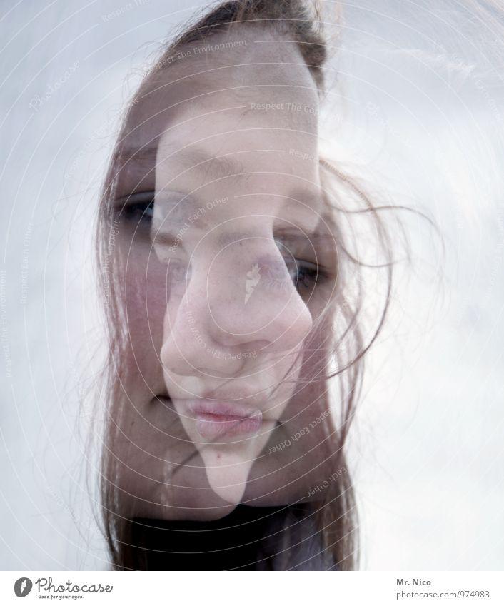 doppelkopf feminin Gesicht 8-13 Jahre Kind Kindheit langhaarig verrückt Doppelbelichtung unentschlossen Denken Verzweiflung Illusion Wahnvorstellung Wahnsinn
