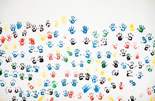 buntes Miteinander Lifestyle Freude Freizeit & Hobby Kunst Menschenleer Mauer Wand Fassade Dekoration & Verzierung Abdruck handabdruck Handfläche Fröhlichkeit