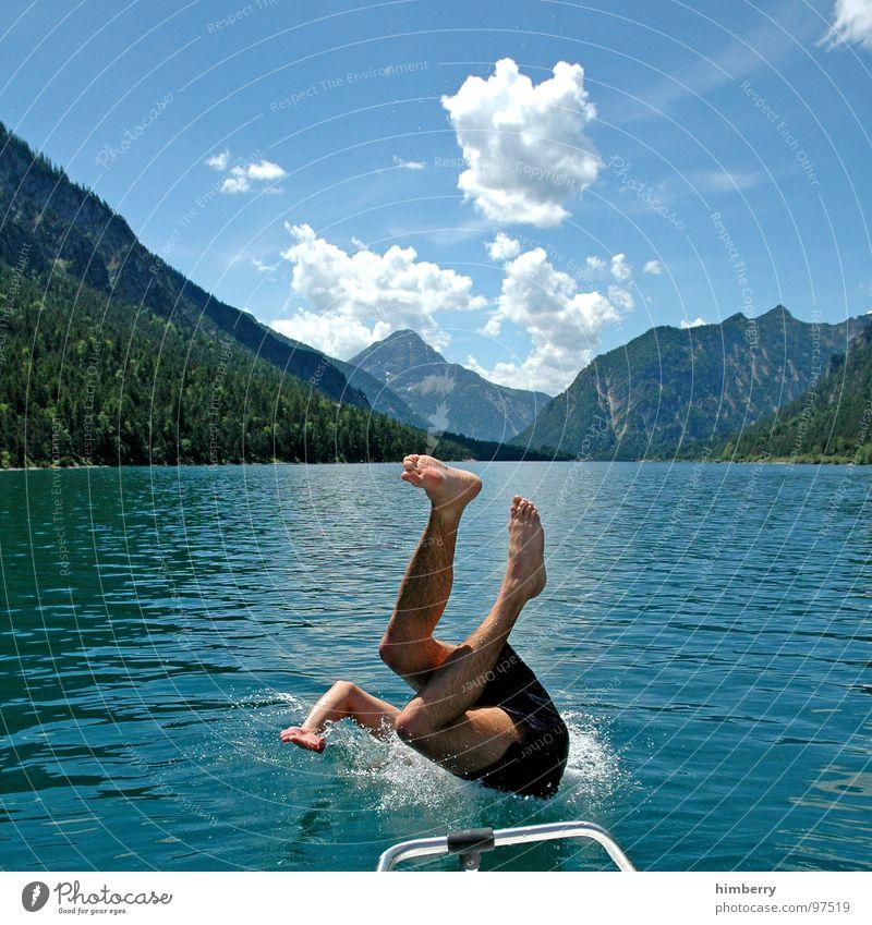refresh royal XI Mensch Mann Hand Jugendliche Wasser Ferien & Urlaub & Reisen springen Berge u. Gebirge See Beine Beine Wasserfahrzeug Horizont Schwimmbad Freizeit & Hobby