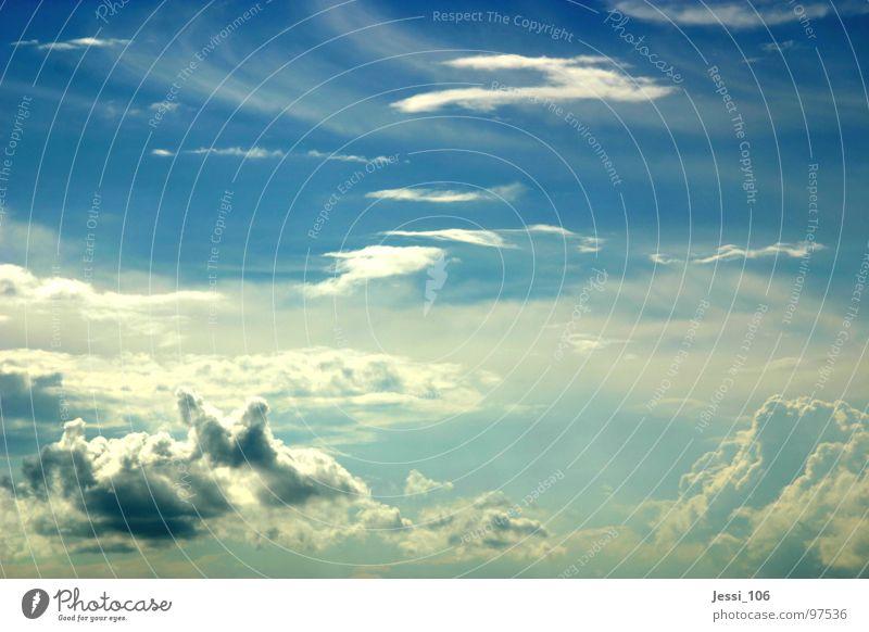 Wolkenmeer Himmel blau Wolken Freiheit Wetter fliegen Horizont