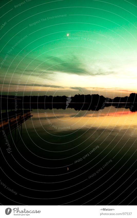 Mondspiegel Wasser grün ruhig Wolken Freiheit See Landschaft Küste Deutschland Spiegel Steg