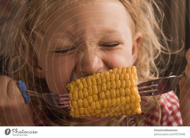 Maiszeit Mensch Kind Farbe Sommer Mädchen gelb Leben Glück Essen Gesundheit Lebensmittel Kopf Lifestyle Kindheit Ernährung genießen
