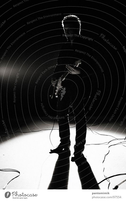 Dane Blues Schwarzweißfoto Konzert Musik Mann Guitar Rockmusik Silhouette Cable Shadow