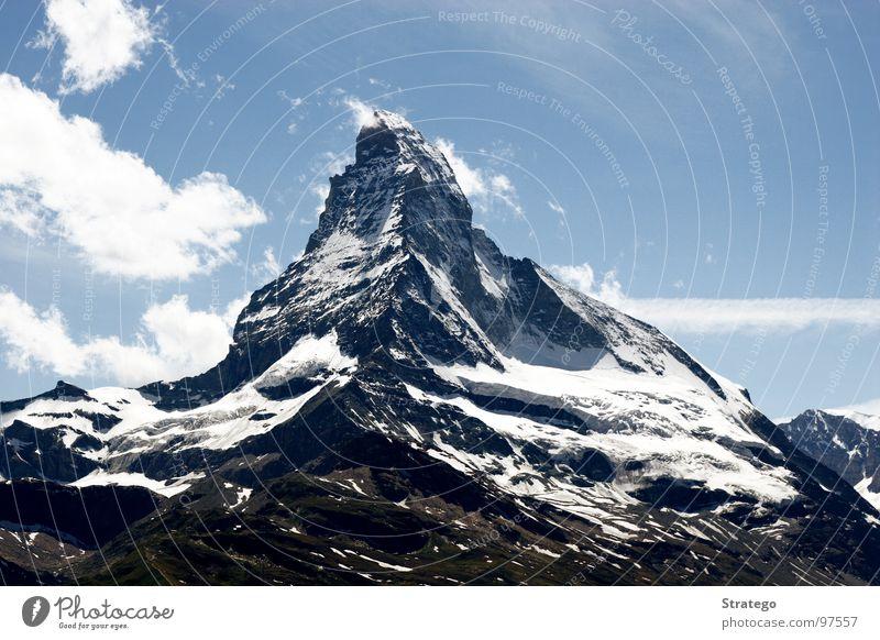 Matterhorn II Himmel schön Landschaft ruhig Wolken Berge u. Gebirge Wiese Gras Schnee Felsen Tourismus Luft Kraft Spitze Seil Macht