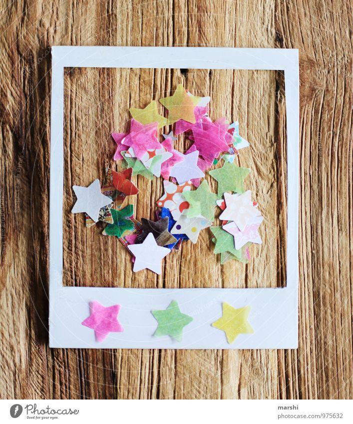 Polaroid mit Sternchenmotiv Zeichen Ziffern & Zahlen Gefühle retro Rahmen Stern (Symbol) Weihnachten & Advent Holztisch Strukturen & Formen schön mehrfarbig