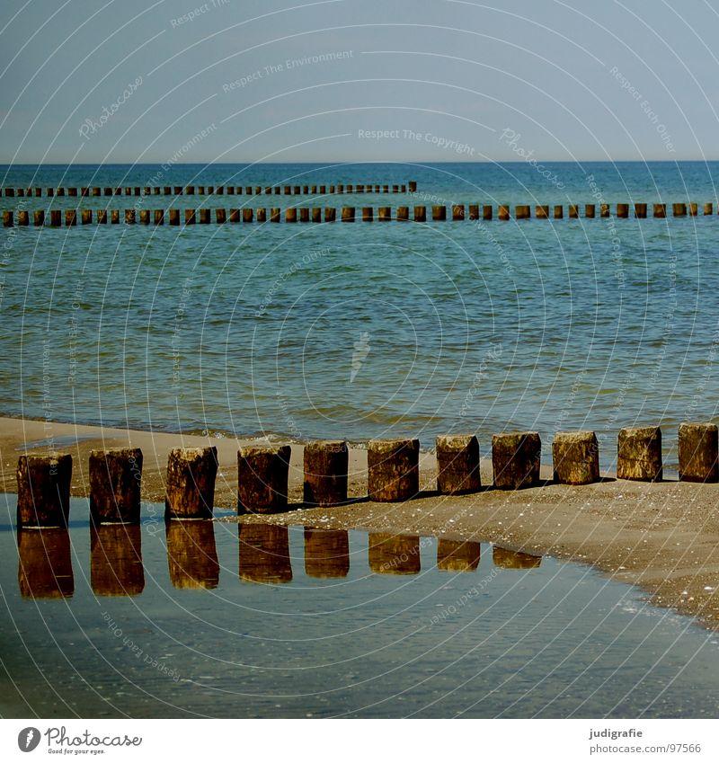 Küste Meer ruhig leer Kühlung Ferien & Urlaub & Reisen kalt Holz Buhne nass grün Horizont Strand salzig Reflexion & Spiegelung Farbe Wasser Ostsee Pfosten