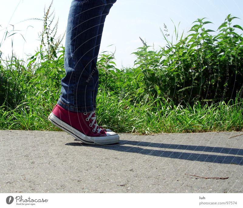Wenn ich mal groß bin... Asphalt grau grün Halm Wiese Chucks rot Schuhe Schuhbänder Zehenspitze Froschperspektive Hardcore Jugendliche Straße Rasen grey