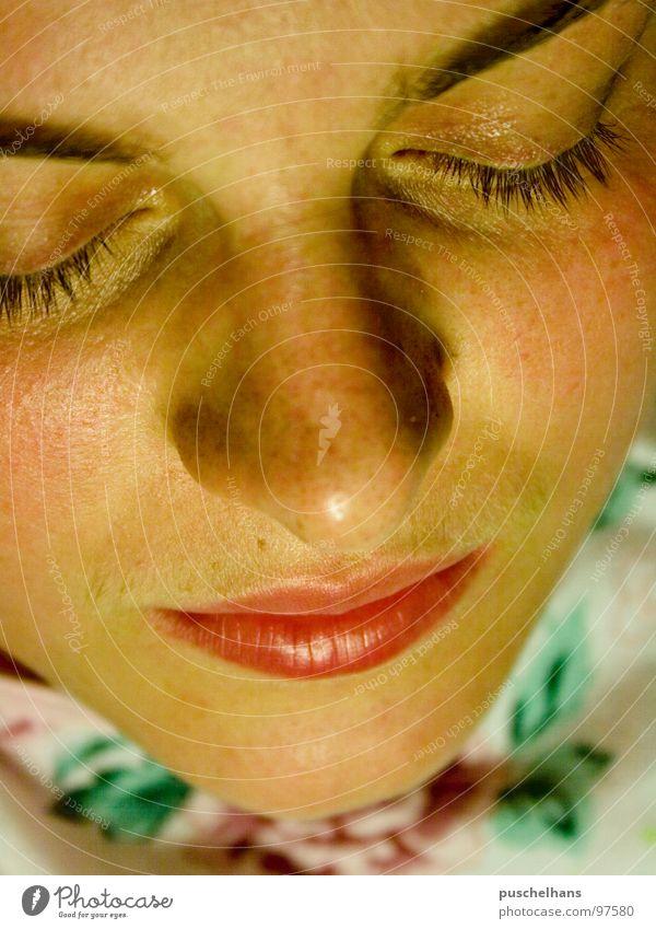 dream on Frau Mensch Gesicht Auge Erholung träumen Traurigkeit Mund Haut schlafen Trauer nah Schlafzimmer