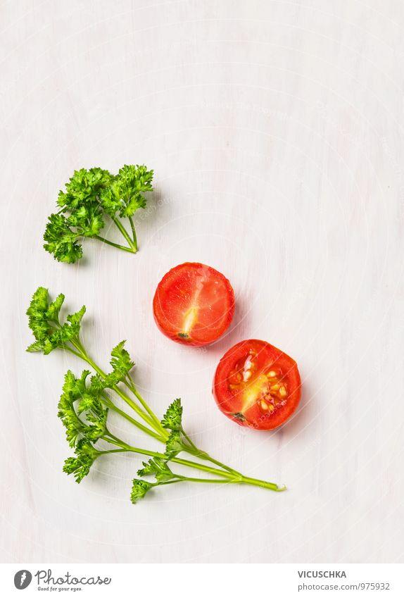 Einfaches Essen : Petersilie und Tomaten. Natur grün weiß Sommer rot Gesunde Ernährung Leben Stil Gesundheit Hintergrundbild Lebensmittel Lifestyle Design