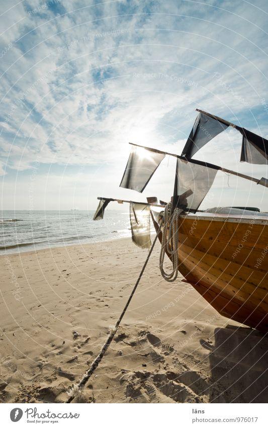 aufbruch Himmel Ferien & Urlaub & Reisen Sommer Sonne Landschaft Wolken Strand Umwelt Küste Wege & Pfade Freiheit Sand Wasserfahrzeug Horizont Tourismus warten