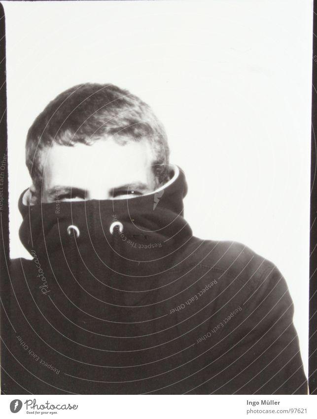Fotosession 4 Mann maskulin Fotografie Photo-Shooting schwarz weiß Schwarzweißfoto Auge Gesicht Junger Mann zusammengekniffen Männerauge kurzhaarig