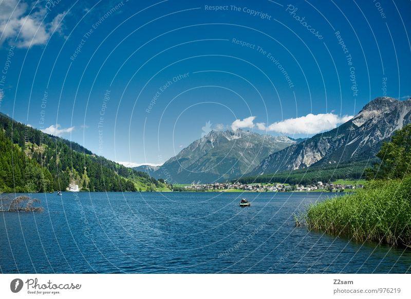 Reschensee Natur Landschaft Himmel Sommer Schönes Wetter Baum Sträucher Hügel Felsen Alpen Berge u. Gebirge Gipfel Seeufer frisch nachhaltig natürlich blau grün